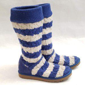 💙🤍💙 UGG Blue/White Knit Tall Boots Sz 7 💙🤍💙
